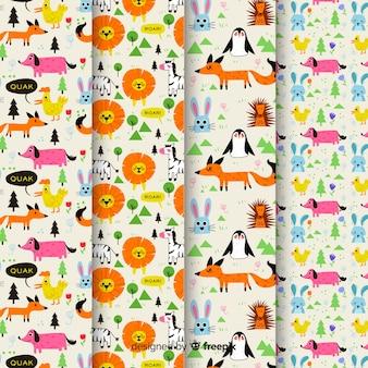 Conjunto de padrão colorido de animais e palavras de doodle