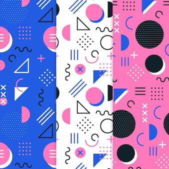 Conjunto de padrão colorido de memphis
