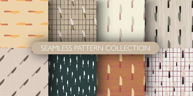 Conjunto de padrão com figuras de faca. coleção de impressão da cozinha doodle.