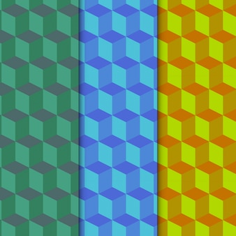 Conjunto de padrão cúbico colorido