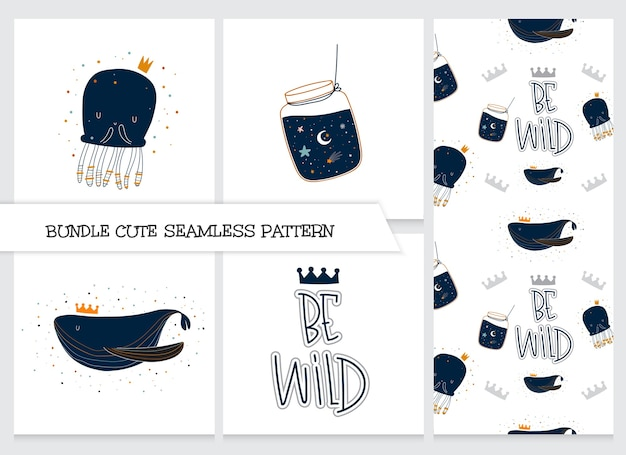 Conjunto de padrão de animais planos de desenho animado de coleção fofa