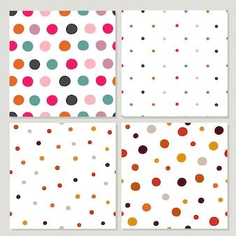 Conjunto de padrão de bolinhas coloridas.