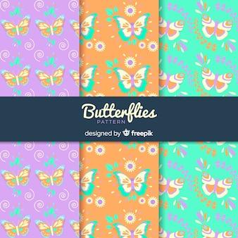 Conjunto de padrão de borboleta colorida