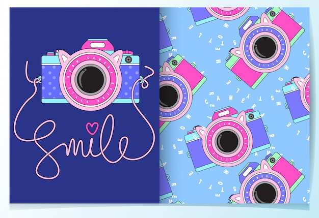 Conjunto de padrão de câmera bonito desenhado de mão