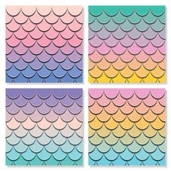 Conjunto de padrão de cauda de sereia.