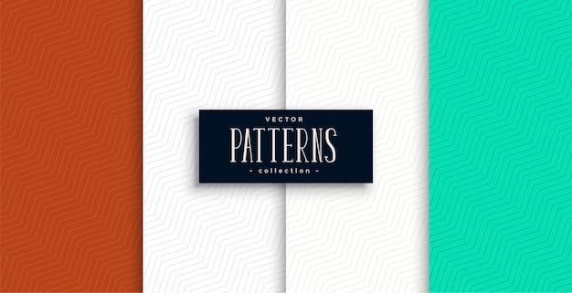 Conjunto de padrão de chevron minimalista de quatro