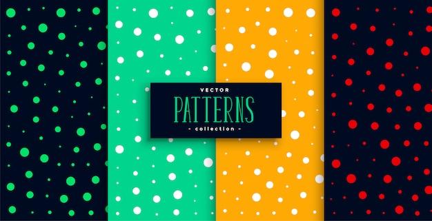 Conjunto de padrão de círculos coloridos de estilo polca