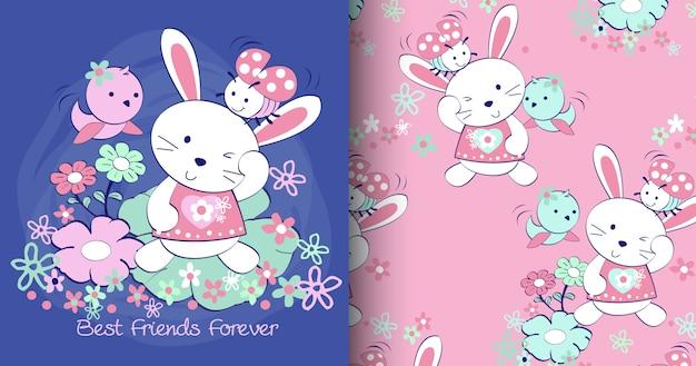 Conjunto de padrão de coelho cute mão desenhada