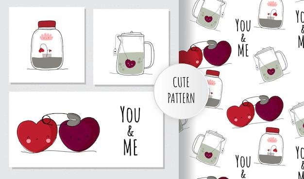 Conjunto de padrão de coleção fofo feliz dia dos namorados
