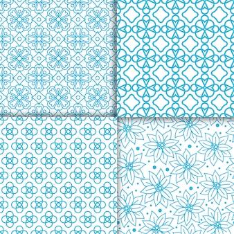 Conjunto de padrão de cor azul floral simples