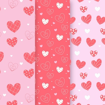 Conjunto de padrão de coração de design plano
