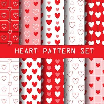 Conjunto de padrão de coração vermelho