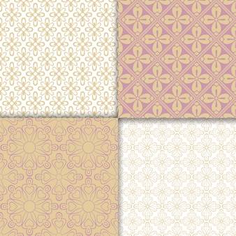 Conjunto de padrão de cores claras de estilo romântico