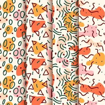 Conjunto de padrão de design de mão desenhada