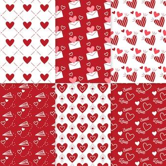Conjunto de padrão de dia dos namorados desenhada