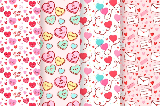 Conjunto de padrão de dia dos namorados lindo e plano