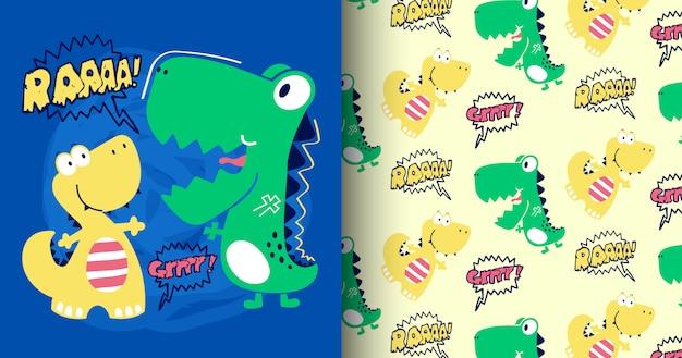 Conjunto de padrão de dinossauro bonito de mão desenhada