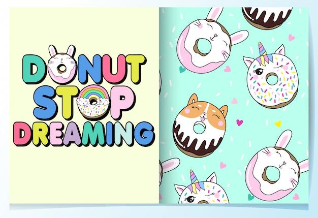 Conjunto de padrão de donut bonito mão desenhada