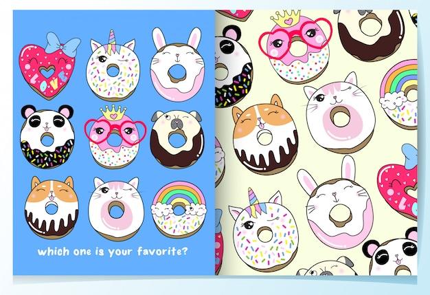 Conjunto de padrão de donuts bonitos mão desenhada