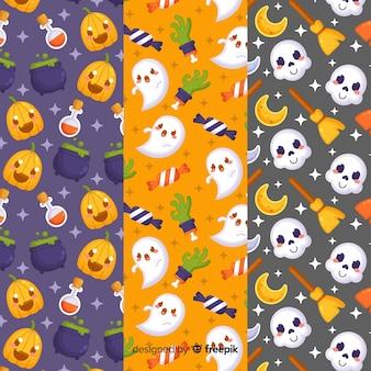 Conjunto de padrão de elementos de halloween