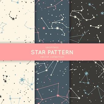 Conjunto de padrão de estrelas sem emenda.