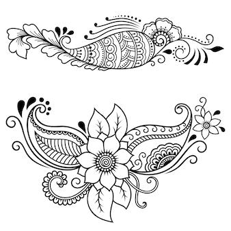 Conjunto de padrão de flor mehndi. decoração em estilo étnico oriental. doodle ornamento. mão de contorno desenhar ilustração.
