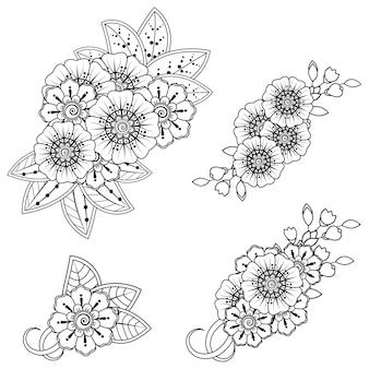 Conjunto de padrão de flor mehndi para desenho de henna. decoração em estilo indiano oriental étnico.
