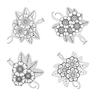 Conjunto de padrão de flor mehndi para desenho e tatuagem de hena. decoração em estilo étnico oriental, indiano.
