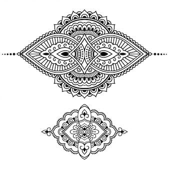 Conjunto de padrão de flor mehndi para desenho e tatuagem de henna. decoração em estilo étnico oriental, indiano. doodle ornamento. mão de contorno desenhar ilustração vetorial.