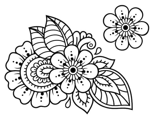 Conjunto de padrão de flor mehndi para desenho e tatuagem de henna. decoração em estilo étnico oriental, indiano. ornamento do doodle. esboço mão desenhar ilustração vetorial.