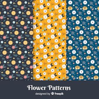 Conjunto de padrão de flor plana