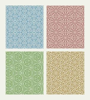 Conjunto de padrão de flores coloridas sem costura