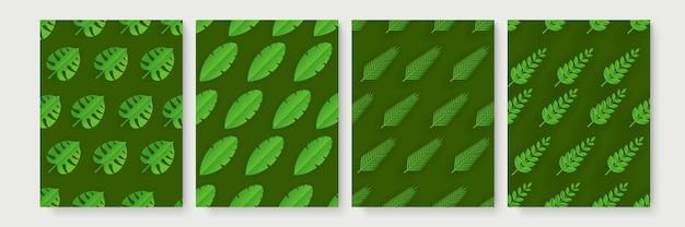 Conjunto de padrão de folhas de corte de papel tropical