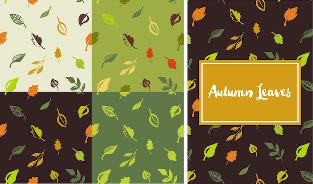 Conjunto de padrão de folhas desenhadas à mão, folha verde, esboços e rabiscos de folhas e plantas, padrão sem emenda de folhas verdes