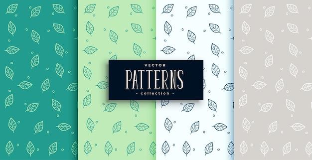 Conjunto de padrão de folhas verdes desenhado à mão