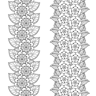 Conjunto de padrão de fronteiras sem costura. decoração em estilo étnico oriental, indiano. ornamento do doodle. delinear a ilustração de desenho de mão.