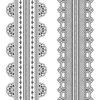 Conjunto de padrão de fronteiras sem costura para mehndi, desenho de henna e tatuagem. decoração em estilo étnico oriental, indiano. ornamento do doodle. esboço mão desenhar ilustração vetorial.