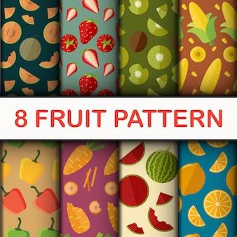 Conjunto de padrão de fruta sem emenda de vetor