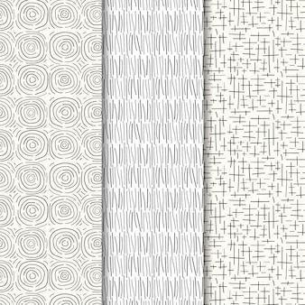 Conjunto de padrão de gravura desenhado à mão