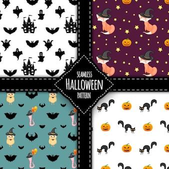 Conjunto de padrão de halloween. estilo de desenho animado. ilustração vetorial.