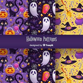 Conjunto de padrão de halloween fofo