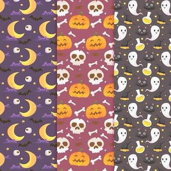 Conjunto de padrão de halloween