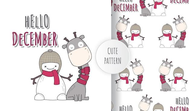 Conjunto de padrão de ilustração de dezembro de felicidade animal bonito plano