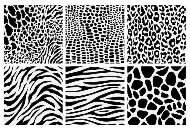 Conjunto de padrão de impressão animal sem costura preto e branco