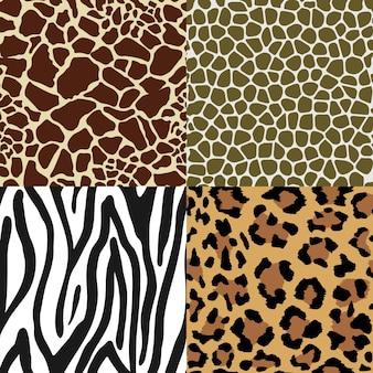 Conjunto de padrão de impressão animal sem costura