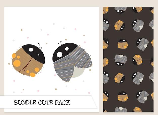 Conjunto de padrão de joaninhas planas de desenho bonito coleção