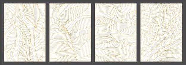 Conjunto de padrão de linha de fundos abstratos ondulados com textura de ondas