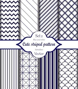 Conjunto de padrão de listras azuis e brancas