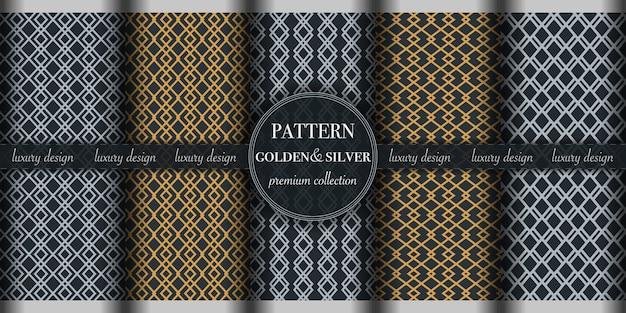 Conjunto de padrão de luxo dourado e prateado