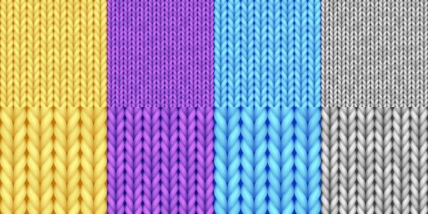 Conjunto de padrão de malha sem costura realista. lã merino, textura de fios para plano de fundo, papel de parede, papel de embrulho, pano de fundo de página da web, design de inverno. ilustração vetorial 3d